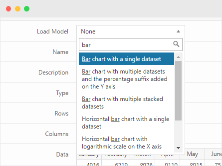 """A model loaded in the """"Charts"""" menu"""