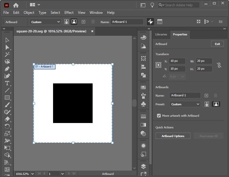 A simple square icon realized in Illustrator
