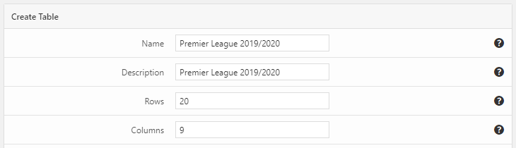 The basic settings of a soccer standings table created with the League Table WordPress plugin