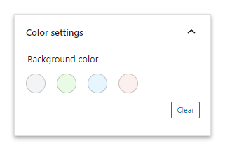 The Color settings section of the table block.