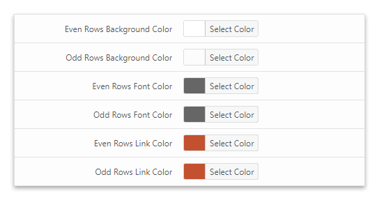 Zebra striping applied with the style options of the League Table WordPress plugin.