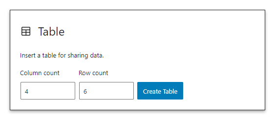 Form used to configure the number of columns and rows of the table.