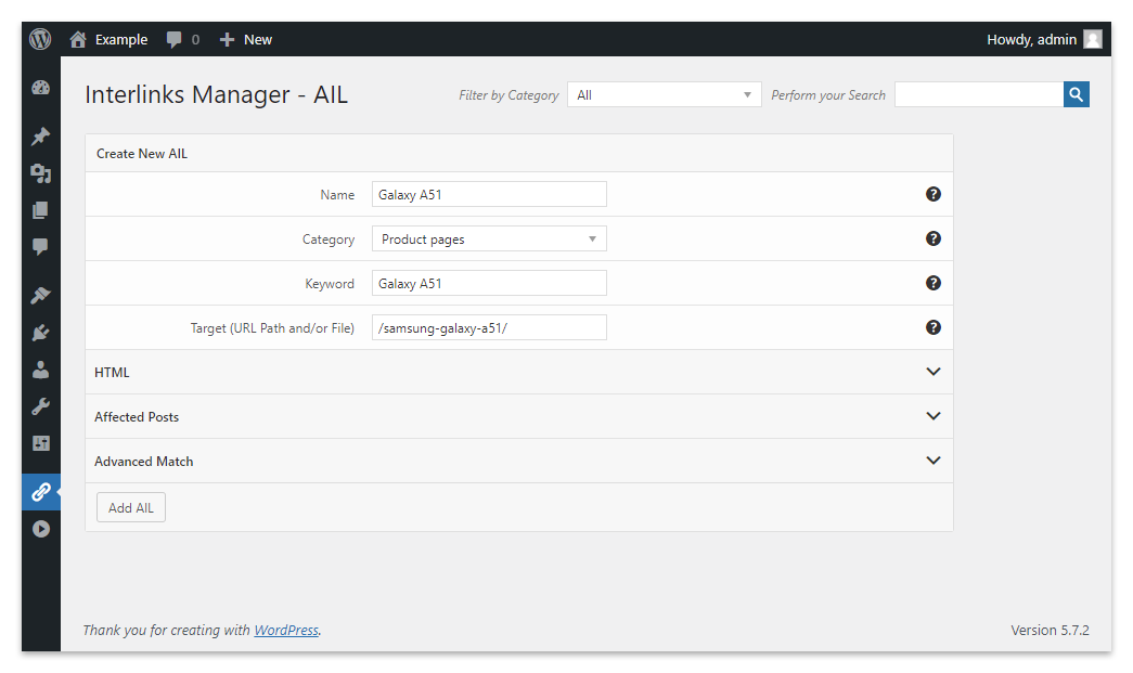 The AIL menu of the Interlinks Manager plugin for WordPress with an automatic link to a product page.