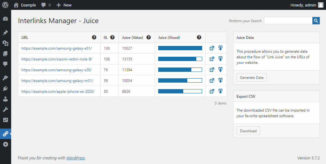 Juice menu of Interlinks Manager with the links to the product pages and the estimated link juice.