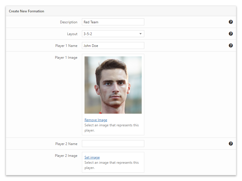 The Formations menu of the Visual Football Formation VE plugin for WordPress with the image of a player already uploaded.