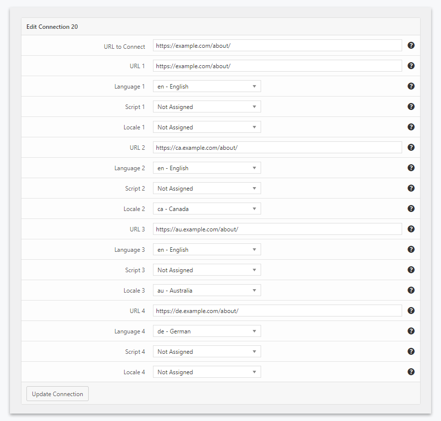 Four versions of the page defined with the Hreflang Manager plugin for WordPress
