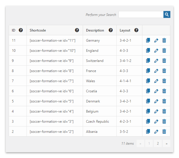 List of available soccer formations in the Formations menu of the Soccer Formation VE plugin.