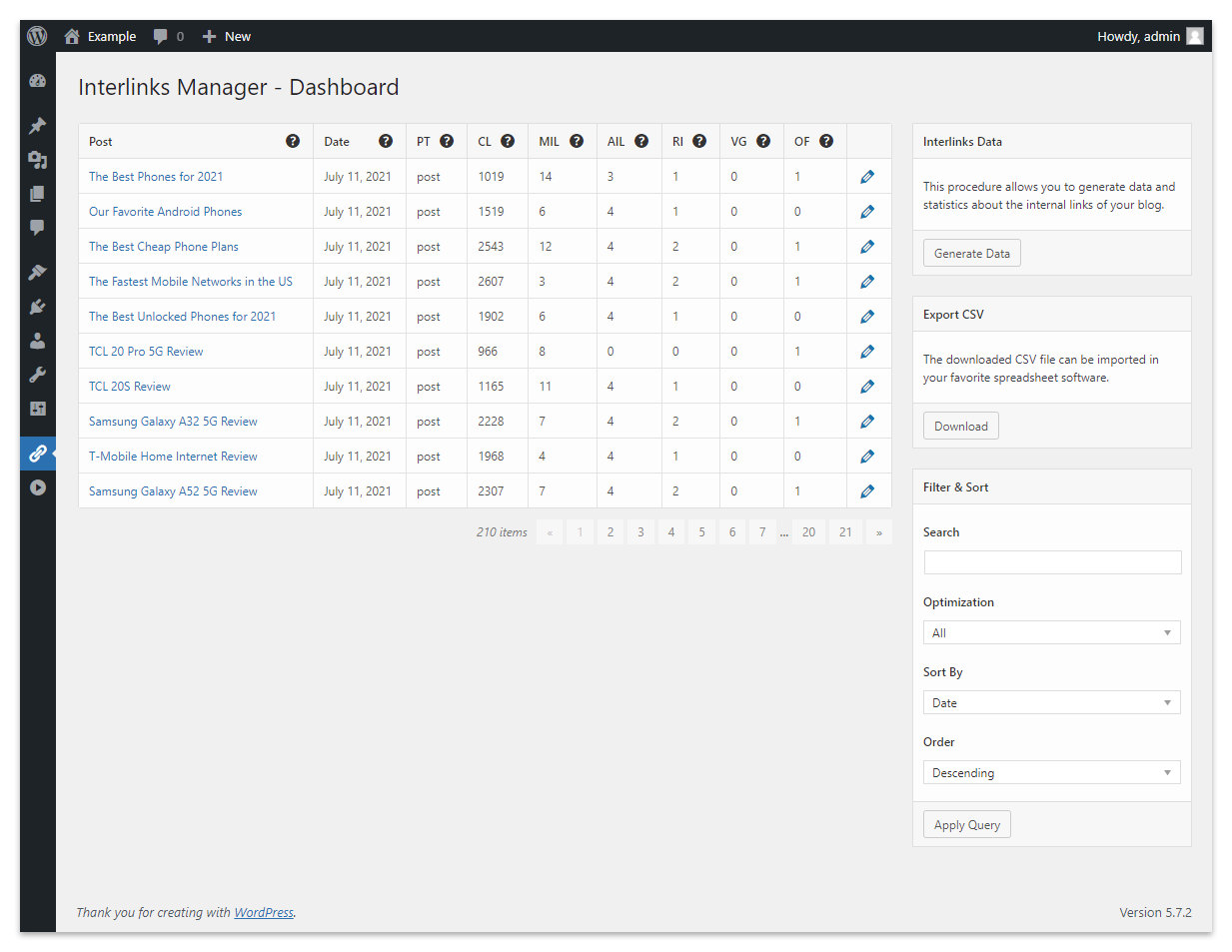 The Dashboard menu of the plugin for each post reports the number of automatic links to the product pages.