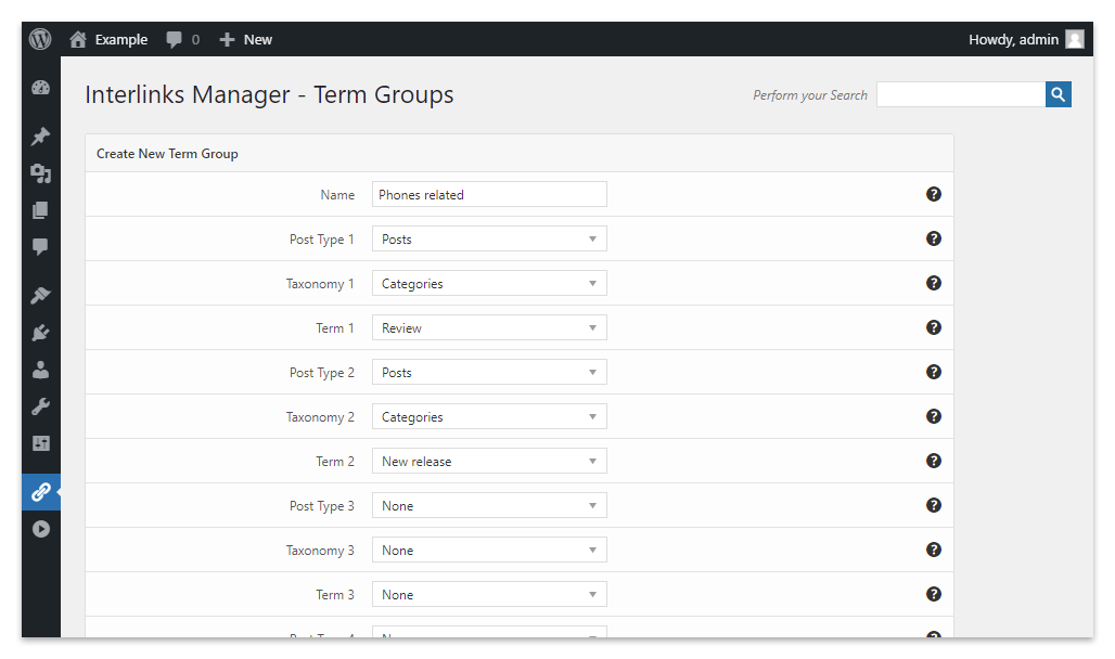 A Term Group that targets specific categories of posts in the Interlinks Manager plugin for WordPress.