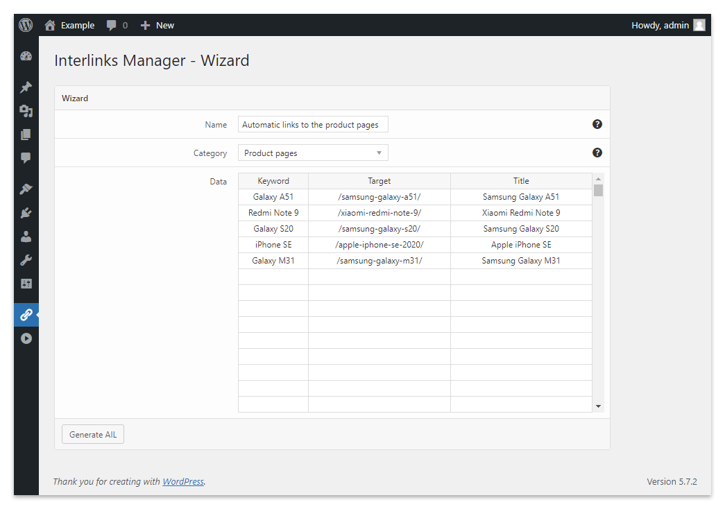 The Wizard menu of Interlinks Manager.