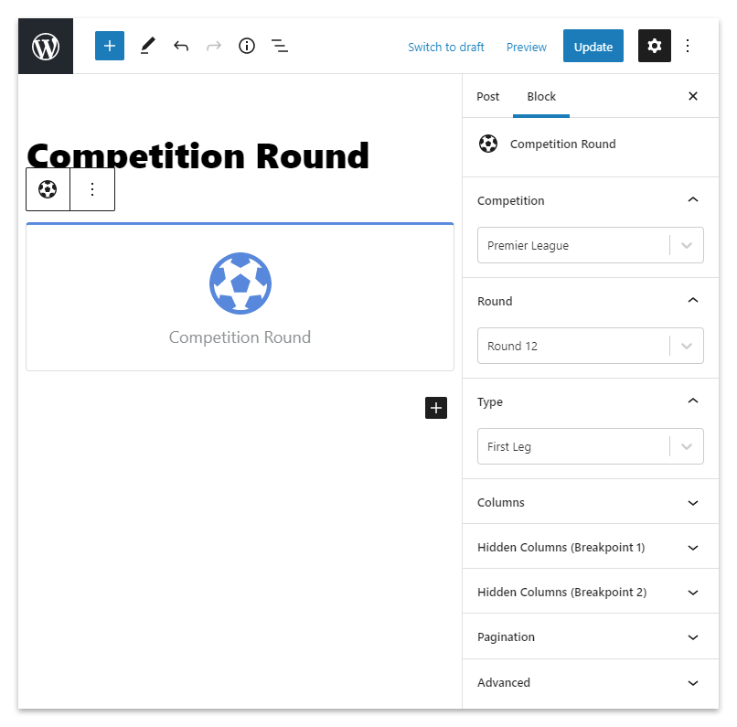 The Competition Round block in the WordPress editor.